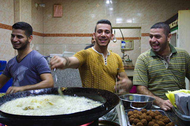 The most famous falafel stand - Mahmoud in the center